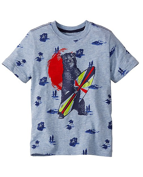 Boys Flocked Art Tee In Slub Jersey by Hanna Andersson