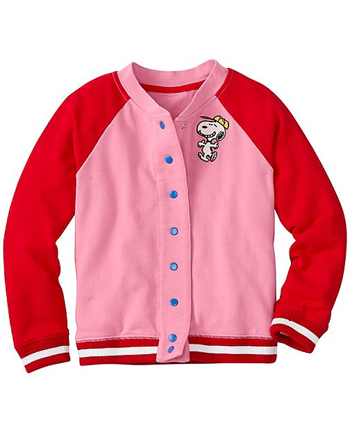 Peanuts Girls Bomber Jacket In French Terry by Hanna Andersson