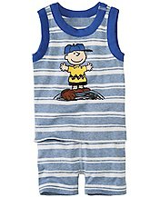 Peanuts Baby Tank John Pajamas In Organic Cotton by Hanna Andersson