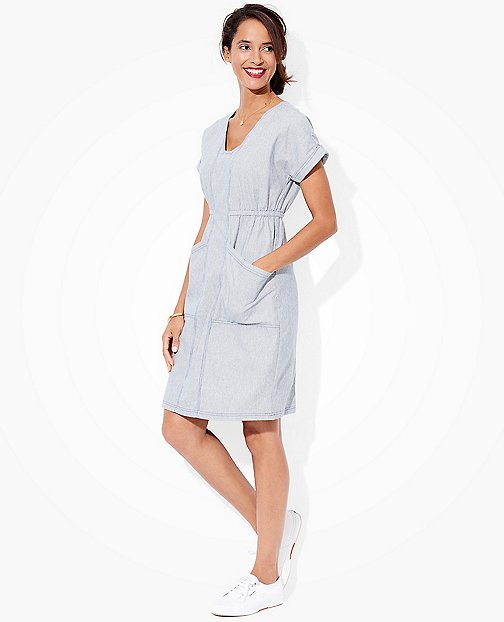Women's Chambray Ticking Dress by Hanna Andersson