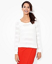 Women's Pointelle Stripe Sweater In Cotton Cashmere by Hanna Andersson