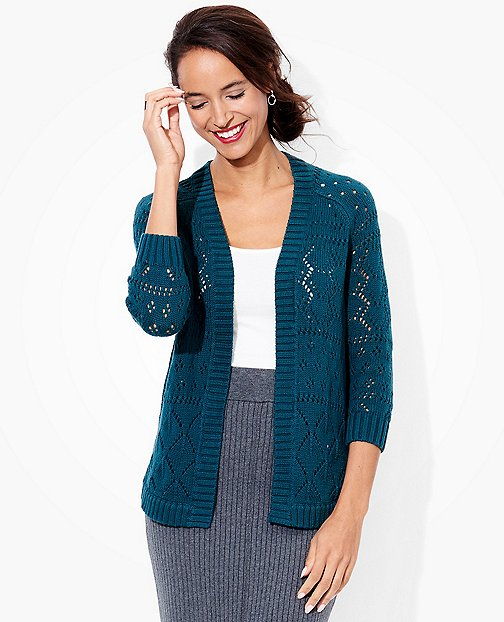 Women's Pointelle Cardigan in Cotton Cashmere by Hanna Andersson