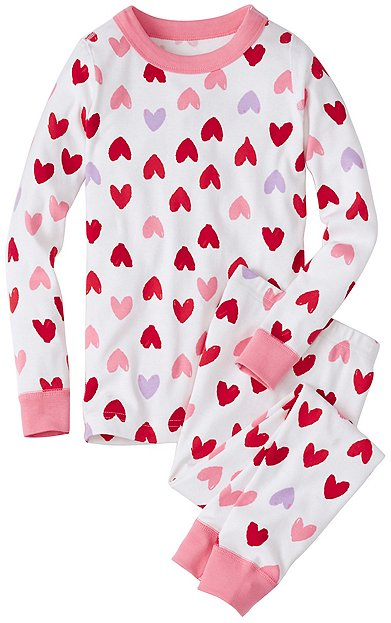 Kids Long John Pajamas In Organic Cotton | Girls Valentine