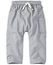 Toddler Chambray Ticking Cozy Pants