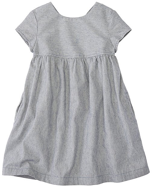 Girls Chambray Ticking Dress by Hanna Andersson