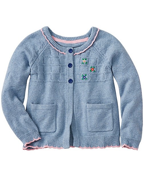 Girls Embroidered Cardi In Cotton & Wool by Hanna Andersson