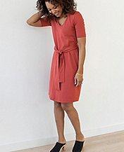 Women Tie Waist Dress In Stretch Jersey by Hanna Andersson