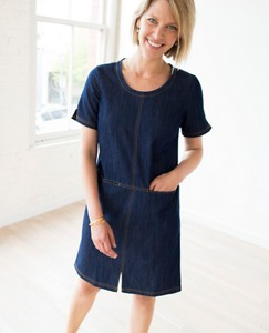Women Modern Stitch Chambray Dress by Hanna Andersson