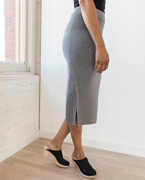 Women Soft Midi Skirt In Cotton Cashmere by Hanna Andersson
