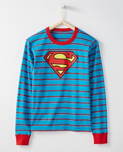 Justice League SUPERMAN™ Adult Long John Pajama Top In Organic Cotton by Hanna Andersson