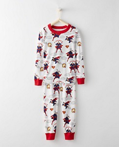 Justice League SUPERMAN™ Kids Long John Pajamas In Organic Cotton by Hanna Andersson