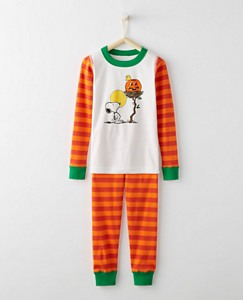 Peanuts Glow In The Dark Kids Long John Pajamas In Organic Cotton by Hanna Andersson
