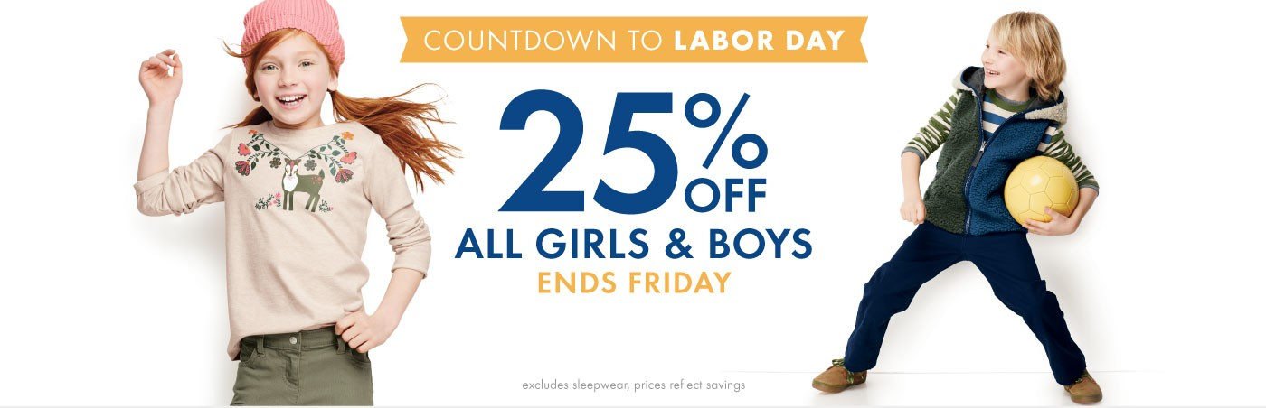 Countdown to Labor Day Today Only 25% Off All Girls