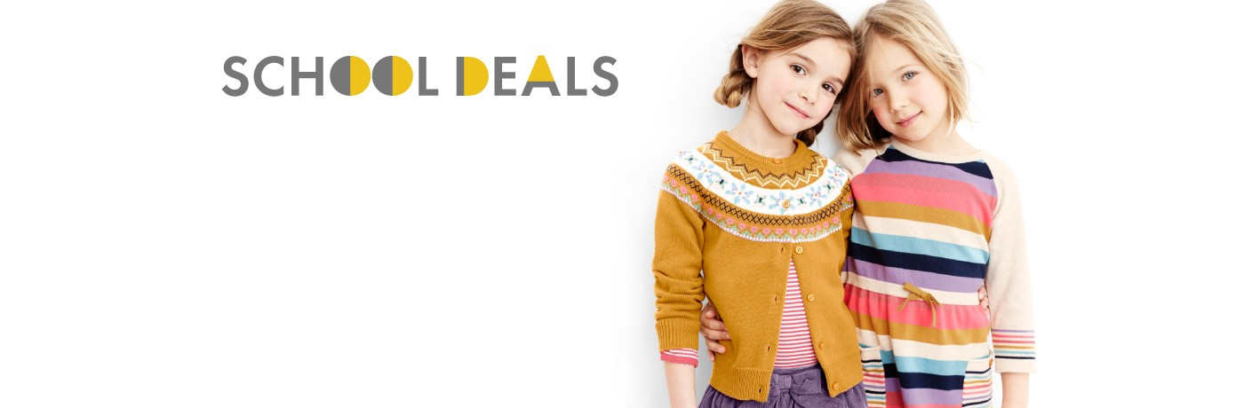 school deals 50% off 2nd pants + 20% off sweaters dresses and more