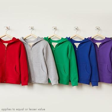 hoodies: buy 1, get 1 50% off stock up on kids basics