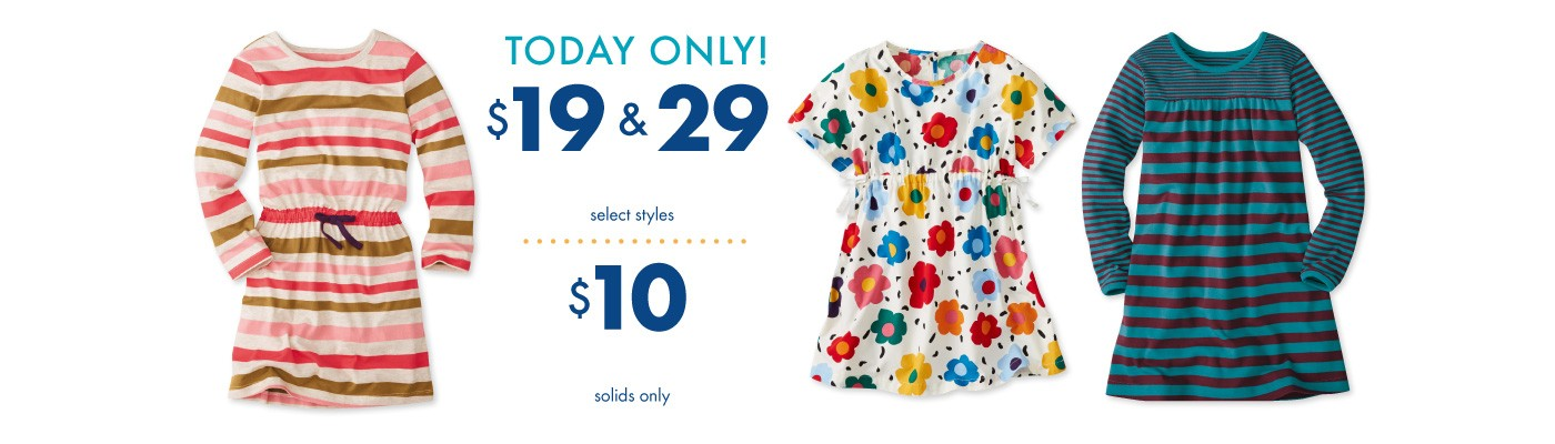 Today Only! $19 & $29 Dresses select styles and $10 Tights solids only