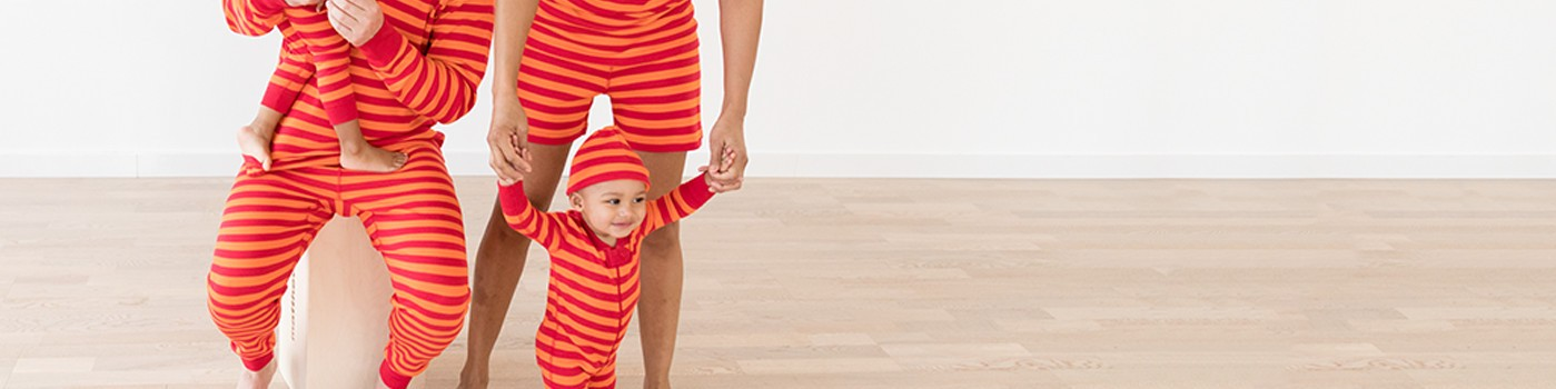 classic stripes in red & orange; pure organic cotton for blissful comfort and purity on even the most sensitive skin