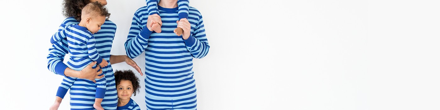 classic stripes in deep blue sea; pure organic cotton for blissful comfort and purity on even the most sensitive skin