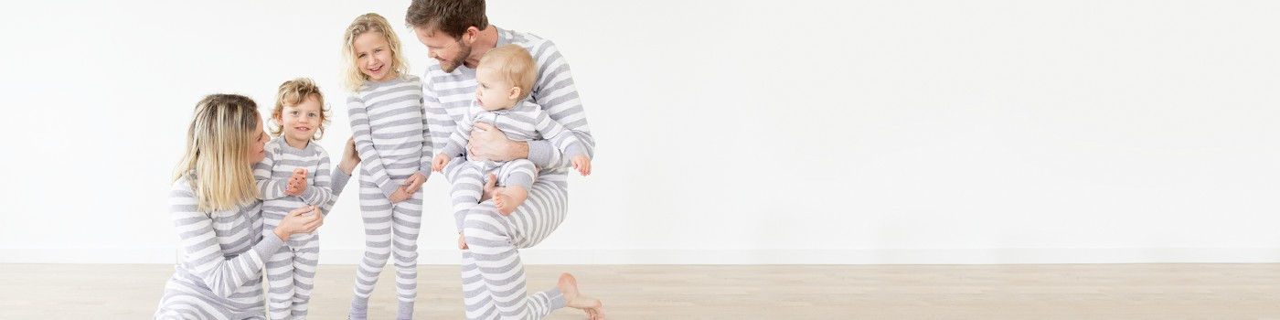 classic stripes in heather grey; pure organic cotton for blissful comfort and purity on even the most sensitive skin