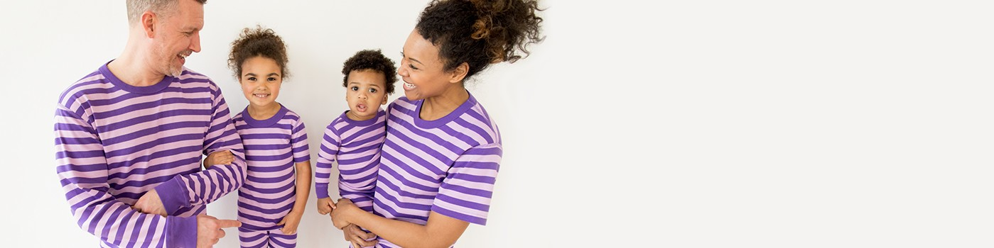 classic stripes in purple hills; pure organic cotton for blissful comfort and purity on even the most sensitive skin