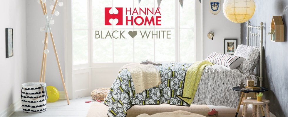 Hanna Home; Black & White; new + now in cozy bedding for beginners