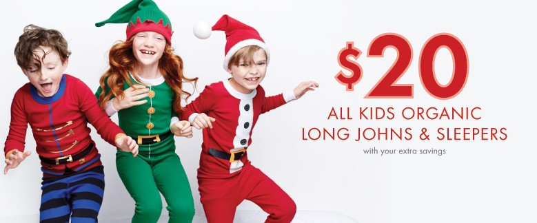 $20 All Kids Organic Long Johns with your extra savings; Shop now