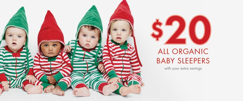 $20 All Organic Baby Sleepers with your extra savings; Shop now