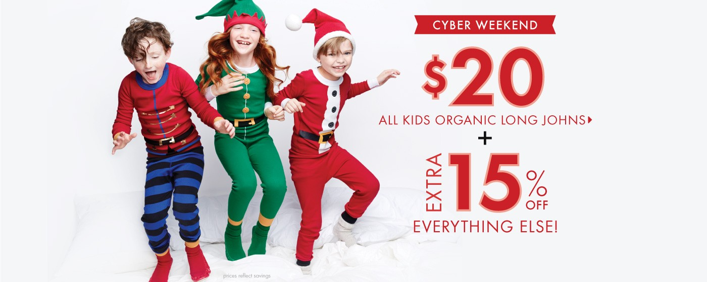Cyber Weekend; $20 Kids Organic Long Johns + Extra 15% Off Everything Else!