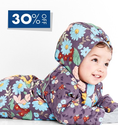 shop 30% off baby outerwear