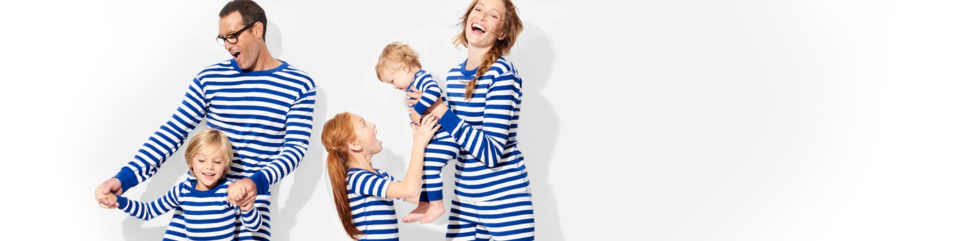 classic stripes in deep blue sea; pure and soft in organic cotton