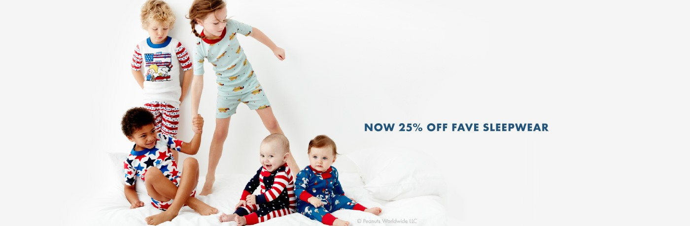 Stars, Stripes + Super sleepwear in 100% organic cotton.  Now 25% Off Fave Sleepwear for girls, boys, and baby.