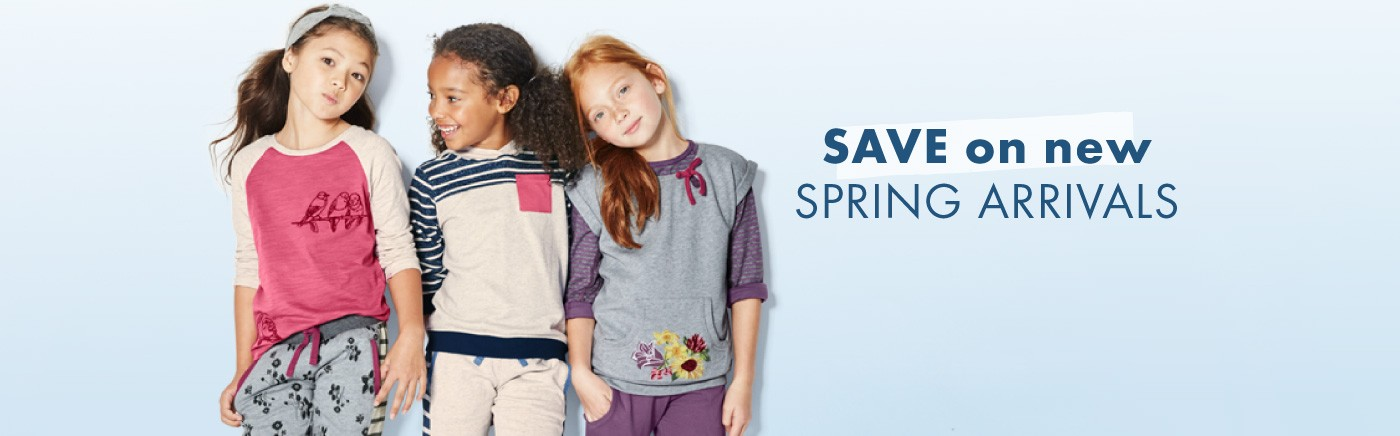 Save on new spring arrivals for girls and boys.