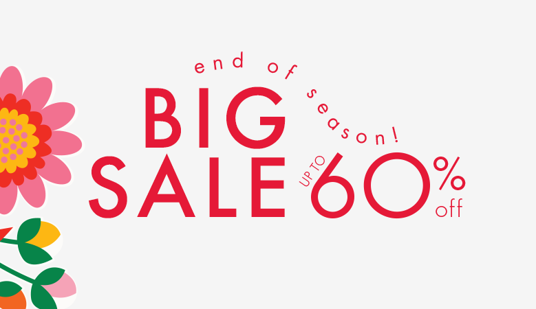 End of season! Big sale up to 60% off. Save time and shop by size. Sale excludes new arrivals.