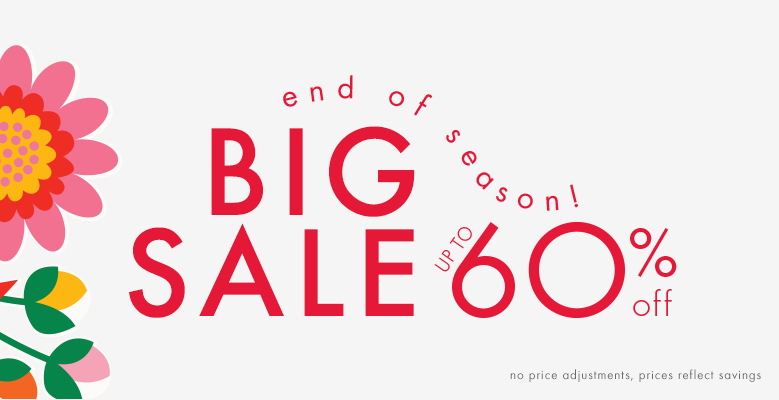 End of season! Big sale up to 60% off