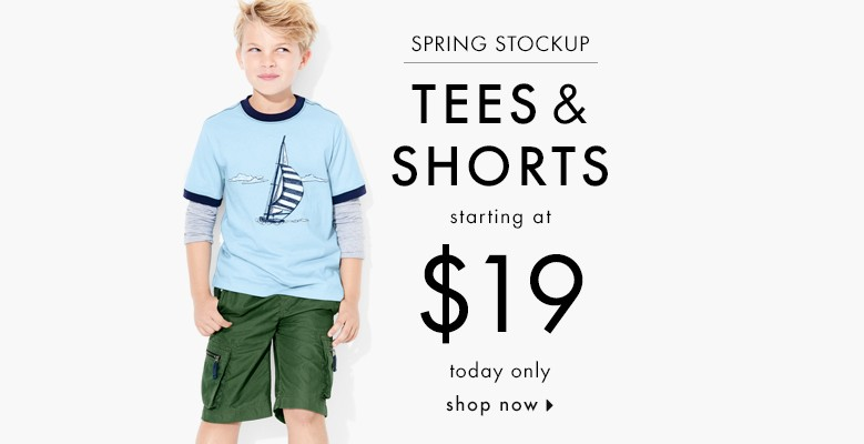 Spring stockup tees and shorts starting at $19. Today only! Shop boys now.