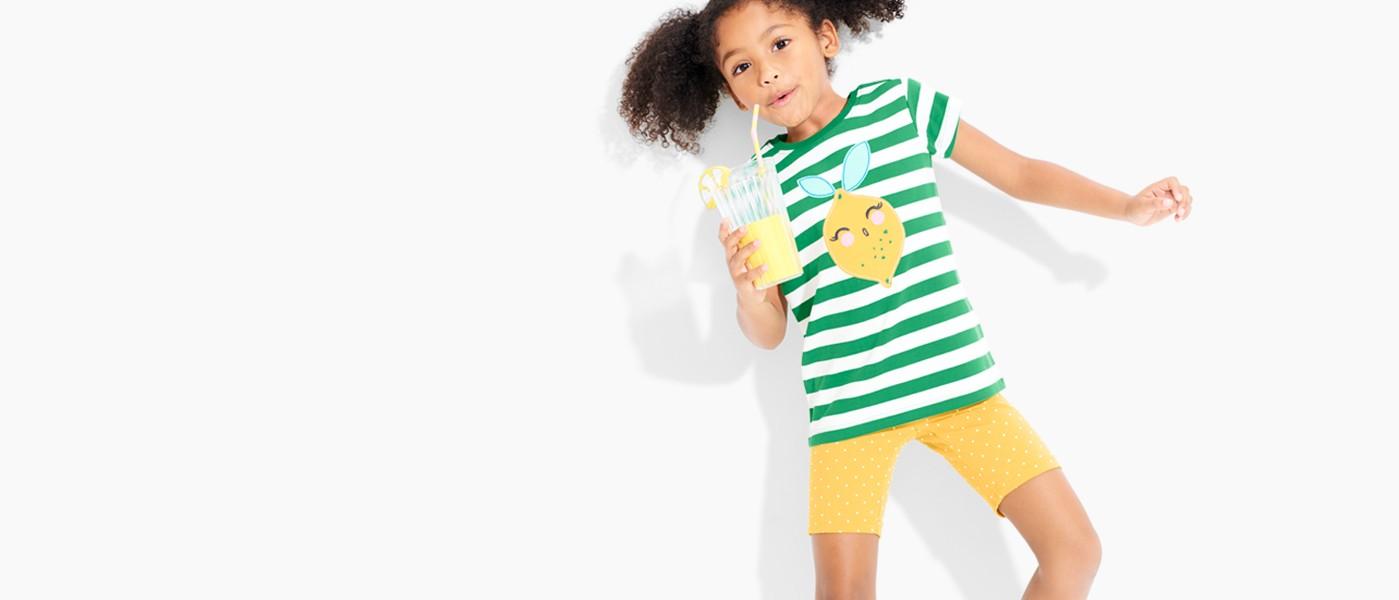 shop essential tees & shorts for girls & boys