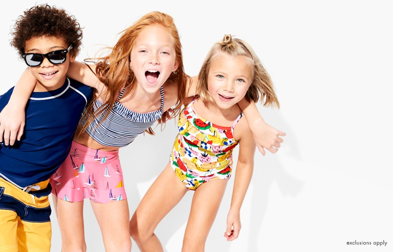 Hello, vacay! 20% off swim. Shop girls, boys, and baby.