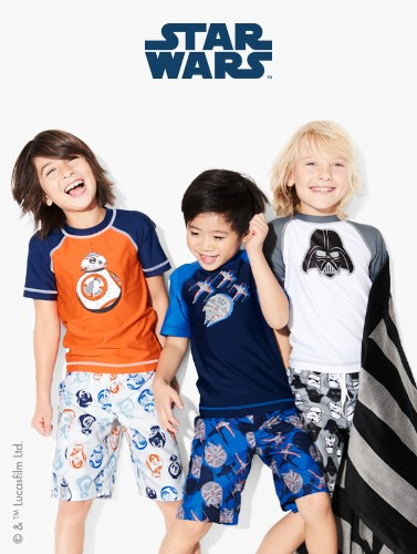 Star Wars galactic splash, swim is here! Shop swimwear!