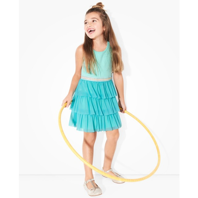 Girls Swish Sparkle Dress With Tulle Tiers by Hanna Andersson