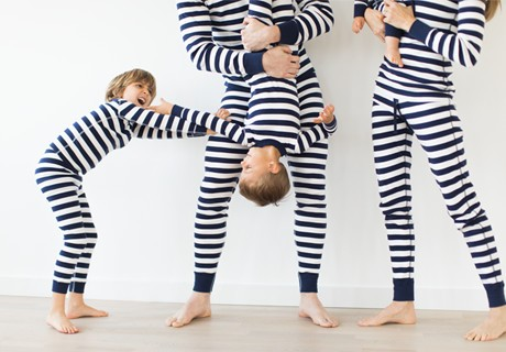classic stripes in navy; pure organic cotton for blissful comfort and purity on even the most sensitive skin