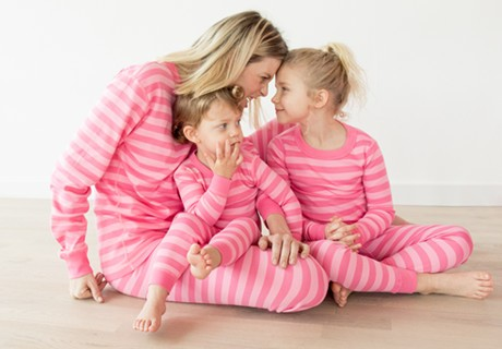 classic stripes in cottage pink; pure organic cotton for blissful comfort and purity on even the most sensitive skin
