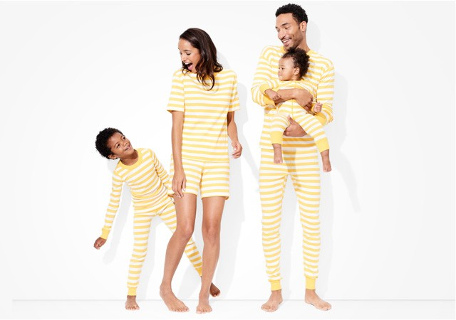 classic stripes in sunshine; pure and soft in organic cotton